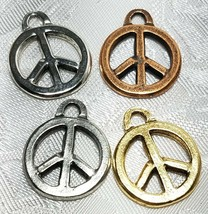 PEACE SIGN FINE PEWTER PENDANT CHARM - 2x23x19mm