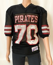 Vintage Champion PIRATES #70 Jersey Nylon Size Large Short Sleeve V-Neck MadeUSA - $44.99