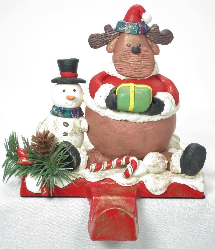 "Primary image for 6"" Tall Chubby Reindeer Claus Christmas Stocking Holder Hanger Shelf Sitter"