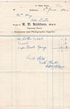 R. D. Kirkham Kirkliston 1934 Dispensing Chemist C.Wool & Gauze Receipt ... - $7.59