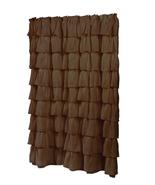 "Carmen Brown Ruffled Tier 100% Polyester Fabric Shower Curtain - 70"" x 72"" - $34.67"