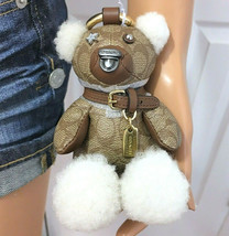 COACH Bear Keychain Bag Charm Leather & Signature Canvas NWT - $77.22