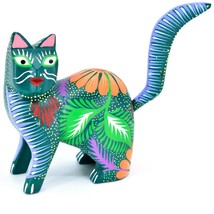 Handmade Alebrijes Oaxacan Copal Wood Carving Painted Cat Kitten Figurine - $49.49