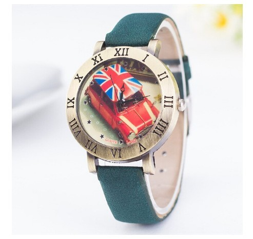 Round Taxi British Watches Roman Numerals Frame Green Leather Vintage English