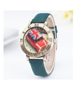 Round Taxi British Watches Roman Numerals Frame Green Leather Vintage En... - $6.99