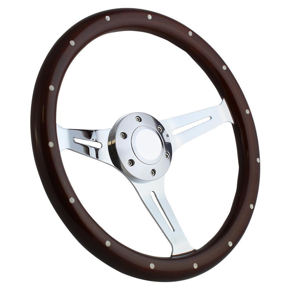 "Hot Rod, Street Rod, 14"" Mahogany & Chrome Steering Wheel, for GM-style Column - $169.99"