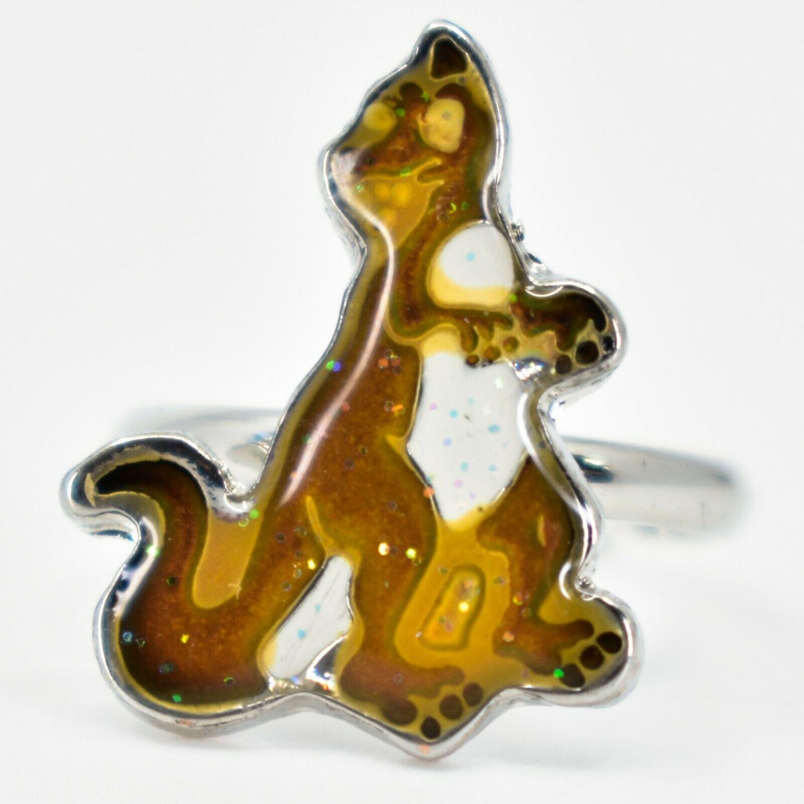 Kid's Fashion Silver Tone Dinosaur Color Changing Fashion Adjustable Mood Ring