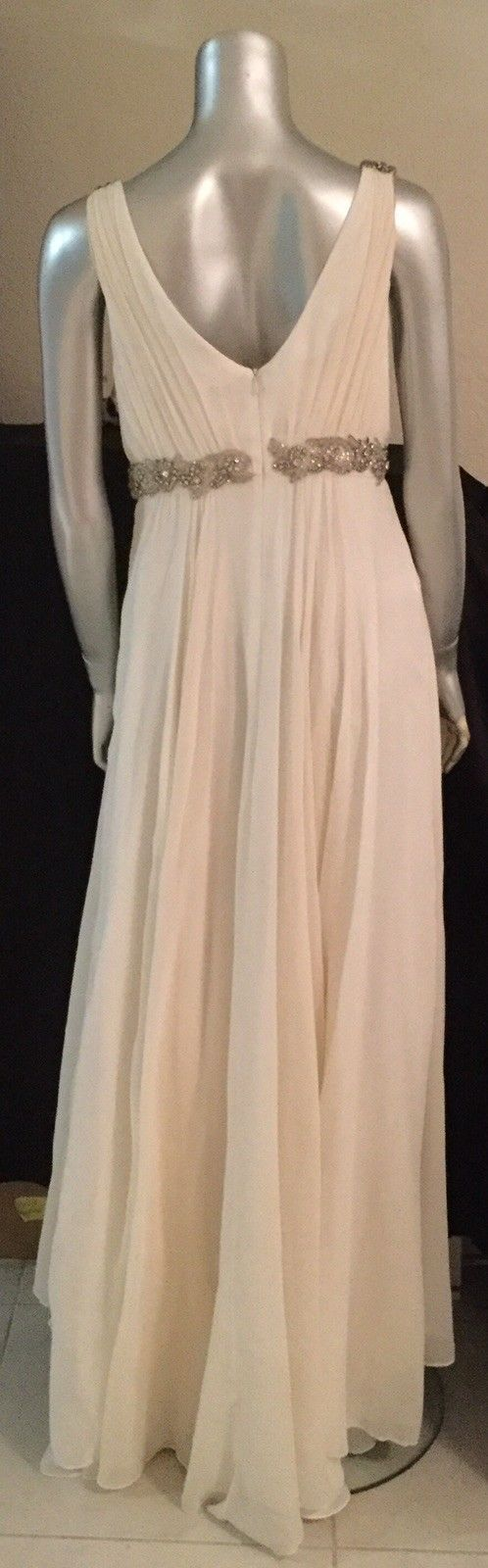 Marchesa Notte Gown Wedding Dress 100%Silk Ivory w Diamond Silver Beaded Sz 8