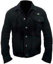 Men Rip Wheeler Yellowstone Cowboy Cole Hauser Black Jacket Suede Leather/Cotton image 1
