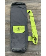 Gaiam Yoga Mat Bag Carrying Bag Lime Green Shoulder Strap Cotton Canvas  - $15.83