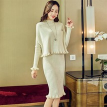 2019 autumn and winter new knit suit female solid color long sleeved split fisht - $44.20