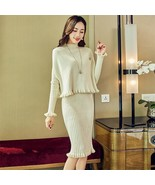 2019 autumn and winter new knit suit female solid color long sleeved spl... - $44.20