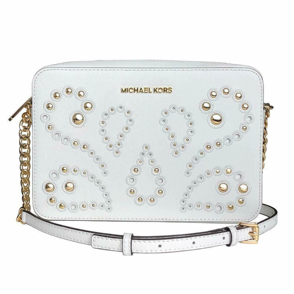 Michael Kors Ginny Embellished Leather Crossbody Camera Bag Optic White NWT $248
