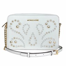 Michael Kors Ginny Embellished Leather Crossbody Camera Bag Optic White ... - $144.00