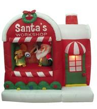 Christmas Inflatable Santa Claus Workshop Elf Yard Outdoor Decoration Ba... - $135.00