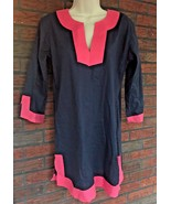 Beautiful Top It Off Tunic Size Small Dress Pink Blue Cotton Made India ... - $23.38