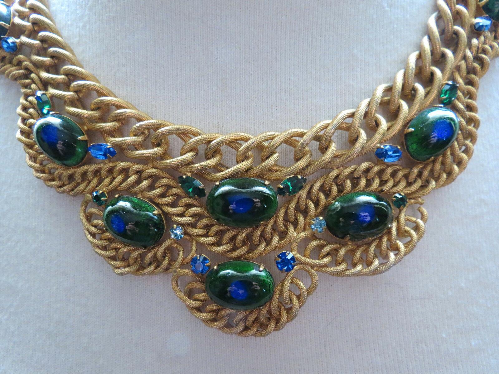 VTG Brania Bib Necklace Mimi Di N Collar Parue Blue Rhinestones Peacock Eye Cabs image 8