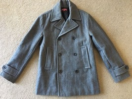 Merona Women's Charcoal Gray Wool Double Breasted Pea Coat Jacket S/P Sm... - $8.99
