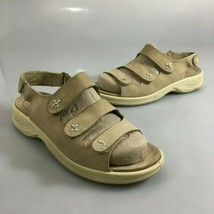 Ecco Womens 37 EU 6-6.5US Beige Leather Slingback Comfort Sandals  - $41.65