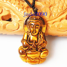 Free shipping - Hand carved Natural  carved yellow tiger eye Buddhist Bodhisattv - $22.00
