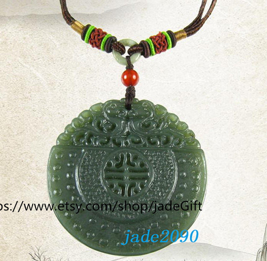 Primary image for Free Shipping - good luck natural green jade Hand- carved Health   charm jade Pe