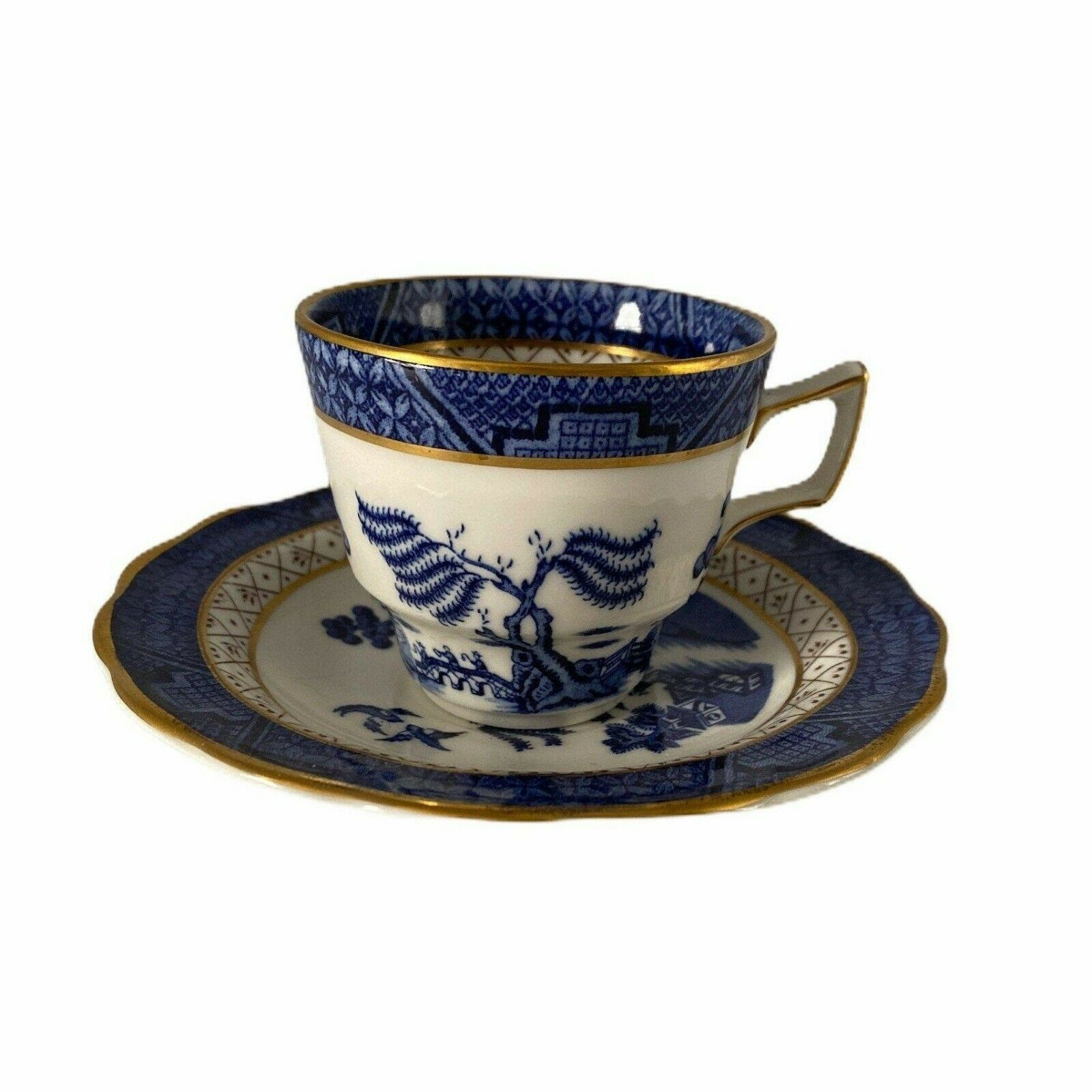 Cup & Saucer set, Royal Doulton BOOTHS Real Old Willow  Blue White gold  - $19.99