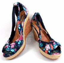 Womens Platform Wedge Shoe Material Girl Floral Cork Peep-toe Sandal Hee... - $23.36