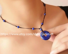 Free Shipping - blue Button gift Hand carved Blue Lapis lazuli carved Peace Butt - $36.99