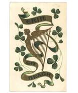 St Patrick's Day vintage postcard harp shamrock embossed gold 1908 Victo... - $7.00