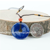 Free Shipping - Hand carved Blue Lapis lazuli carved Peace Button / luck lazuli  - $26.99