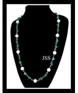Turquoise and Pearl Necklace - $14.98