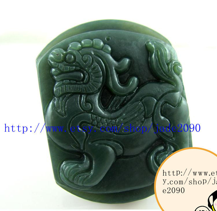 Primary image for Free shipping - Hand carved  luck Monster Natural green jade jadeite charm jade