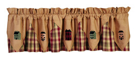 primitive country farmhouse Apple Cider Saltbox Houses plaid pointed VALANCE - $36.95
