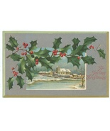 Christmas vintage postcard embossed holly scene church winter 1909 Victo... - $6.50