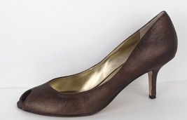 Nine West Cayo women's shoes open toe stilettos heels brown gold size 8 M - $20.29