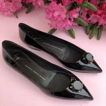 Giuseppe Zanotti Black Patent Leather Diamante Crystal Ballet Flats 38.5 - $595.00