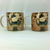 White Roses Coffee Mugs Warren Kimble Lot of 2 From 1997 - $14.84