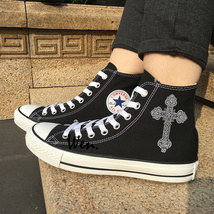 Black High Top Canvas Shoes Design Floral Totem Cross Sneakers Converse All Star - $119.00