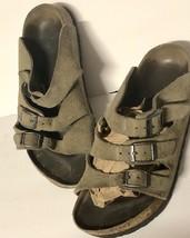 Birkenstock Sandals 3 Strap Olive Leather Birkis Sz 38 Womens Us 7 - $53.46