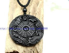 Free Shipping -  Natural black jade carved dragon Phoenix Pendant charm  - $16.99