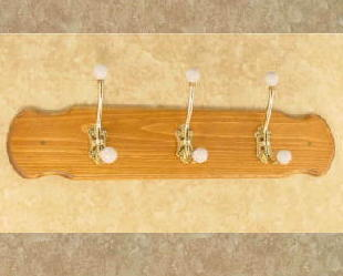 Country Coat Rack - w/ Brass Hooks