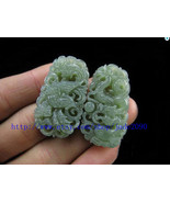 Free Shipping - Amulet auspicious Natural  Green jade jadeite carved dra... - $15.99
