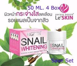 4X Le' SKIN SNAIL WHITENING SECRETION FILTRATE MOISTURE FACIAL CREAM 50 ml. - $257.13