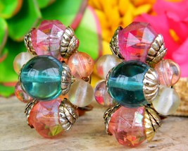 Vintage Multi Color Balls Cluster Faceted Bead Bauble Clip On Earrings - $17.95