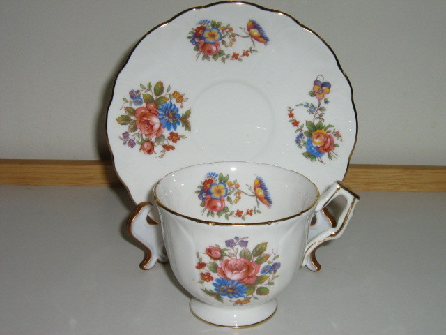Primary image for Aynsley English Bone China Cup & Saucer - Colorful Floral Pattern - 1930s