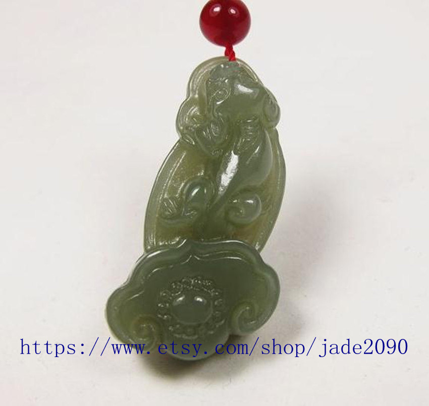 Free Shipping -  Amulet Natural green jade carved ''pi yao'' prayer Health penda