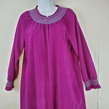 Vintage Vanity Fair Petites M Smocked Detail Long Robe Zip Front Burgund... - $41.80