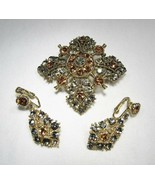 Vintage Champagne & Gray Rhinestone Brooch & Earrings Set C2829 - $27.96