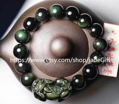 """Free shipping - pure  green eyes obsidian charm """"Pi Yao"""" bracelet charm Beaded b - $32.99"""
