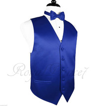Royal Blue Men's Tuxedo Suit Vest Waistcoat And Butterfly Bow Tie Formal Wedding - $17.80+